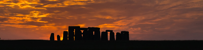 Stonehenge with sunset sky